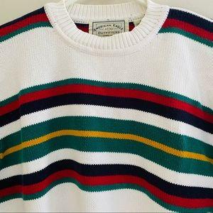 Vintage Striped AEO Men's Sweater Varsity Size L